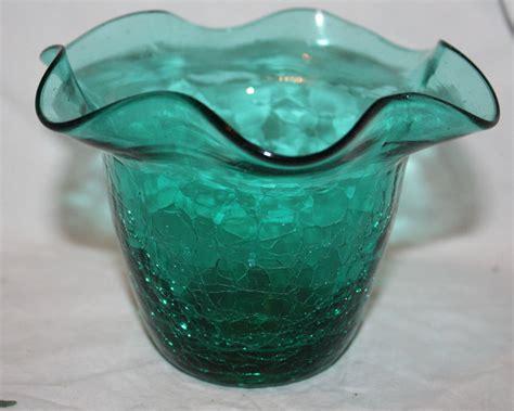 vintage decorative tulip flower green glass crackle glass