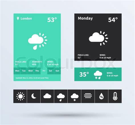 ui layout plugin wetter widget ui satz flaches design trend vektorgrafik