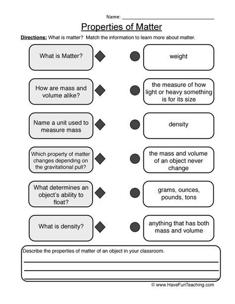 Properties Of Matter Worksheet 5th Grade Pdf