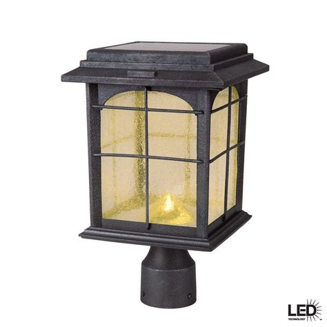 Outdoor Solar Post Light Fixtures Hton Bay Solar Outdoor Painted Sanded Iron Post Lantern With Seedy Glass Shade 46240