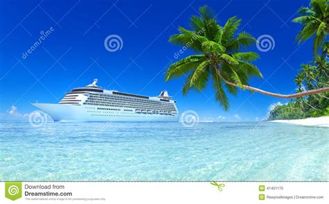 cruise and vacation desk cruise ship on a tropical stock photo image 41401170