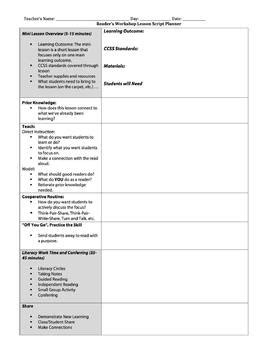 readers workshop lesson plan template reader s workshop lesson plan template danielson model tpt