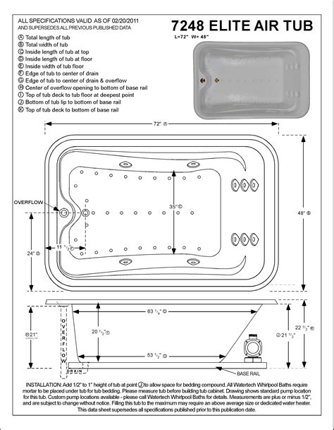 elite vessel installation instructions watertech a7248 elite air bath tub 7248 at tubzandmore