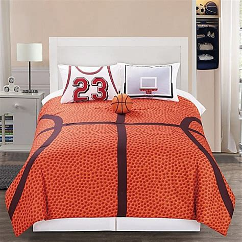 basketball twin bedding b ball reversible comforter set in orange bed bath beyond
