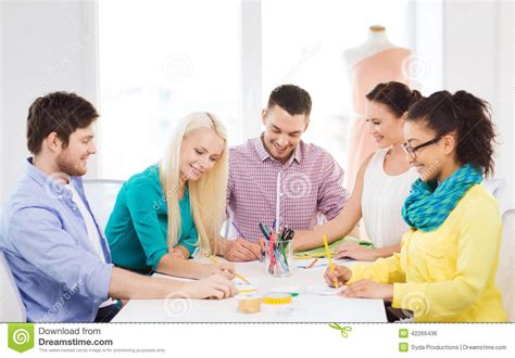 Fashion Designer Education And by Smiling Fashion Designers Working In Office Stock Illustration Image 42266436