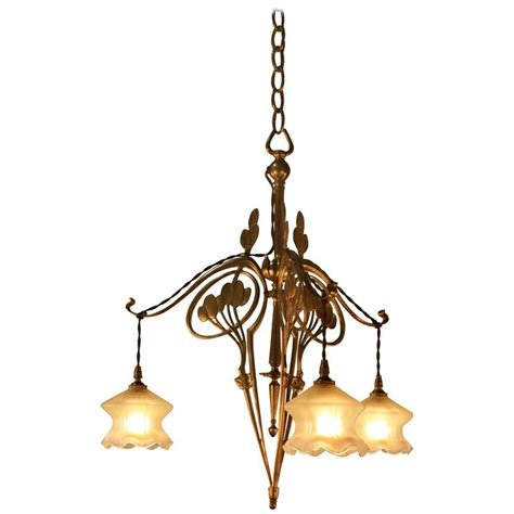 Glass Chandelier Artist Nouveau Bronze And Opalescent Glass Chandelier At 1stdibs