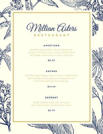 Customize 203  Elegant Menu templates online   Canva
