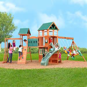 swing sets from toys r us hillcrest premium wooden swing set big backyard toys