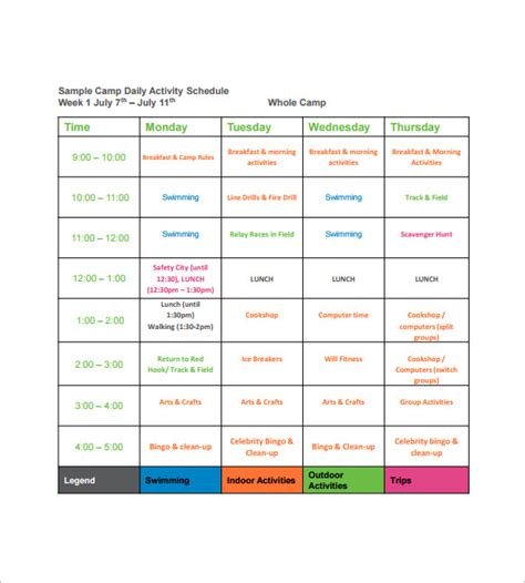 daily activity schedule template 15 c schedule templates pdf doc xls free