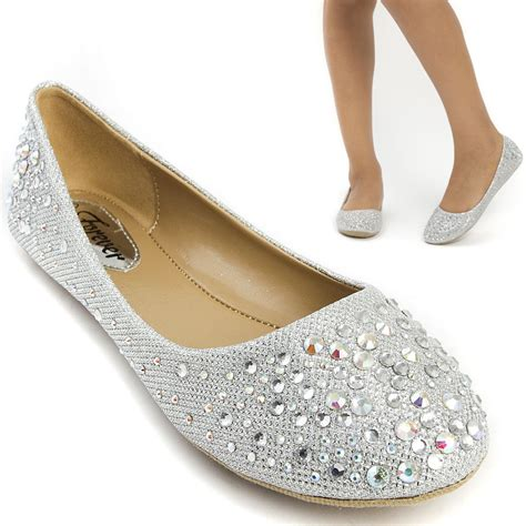 silver flat shoes for prom silver glitter rhinestone wedding bridal prom