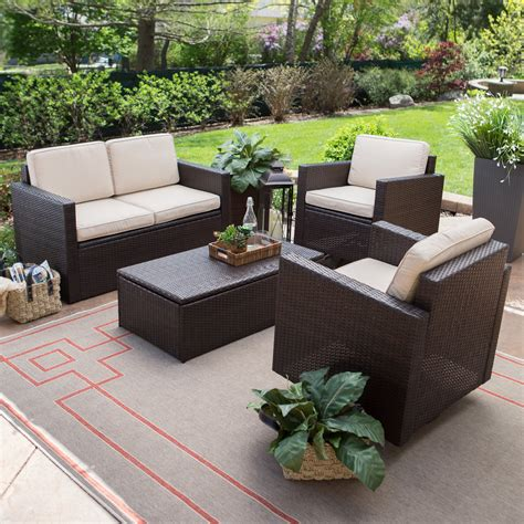 Conversation Sets Patio Furniture Coral Coast Berea Wicker 4 Conversation Set With Storage Conversation Patio Sets At