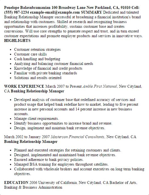 Relationship Banker Sle Resume by Professional Banking Relationship Manager Templates To Showcase Your Talent Myperfectresume