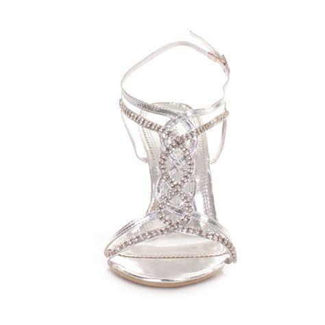 Schuhe Hochzeit Silber by Damen Silber Riemen Absatz Hochzeit Schuhe
