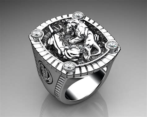 unique mens ring lions den ring sterling silver with white