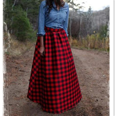7 Favorite Winter Skirts by Winter Maxi Vintage Plaid Wool Warm Skirt