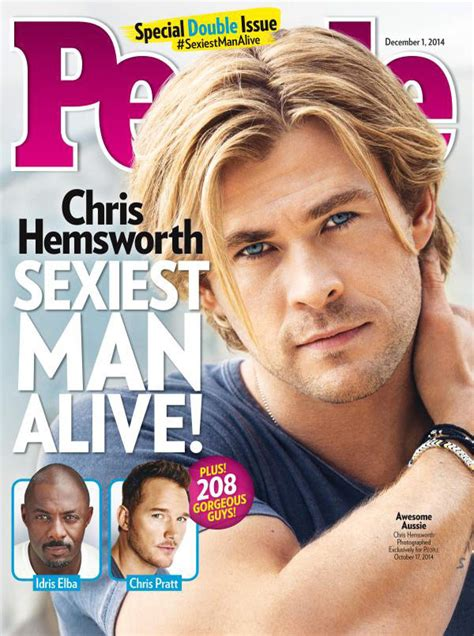 Chris Hemsworth Is Sexiest Man Alive Named People Magazine S Hottest Guy Hollywood Life Sexiest Alive Magazine Cover Template