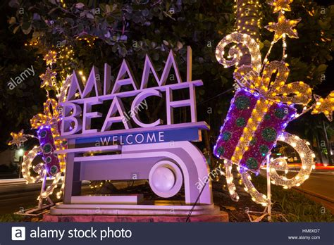christmas decorations on welcome sign miami beach florida