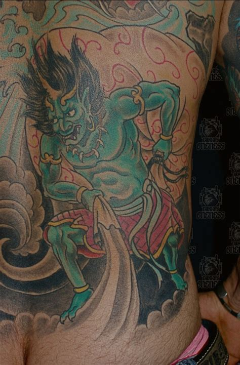 japanese wind and thunder god tattoo by darko groenhagen