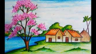 spring pictures to draw how to draw scenery of spring season step by step easy