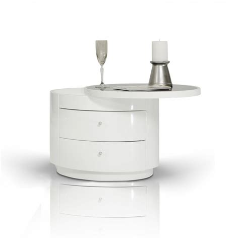 Modern White Nightstand by Modrest Symphony Modern White Nightstand