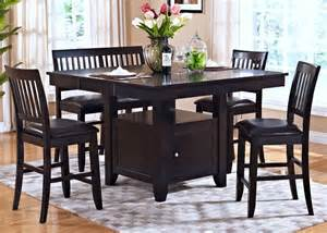 Espresso Dining Room Set gt kaylee espresso counter height storage extendable dining room set