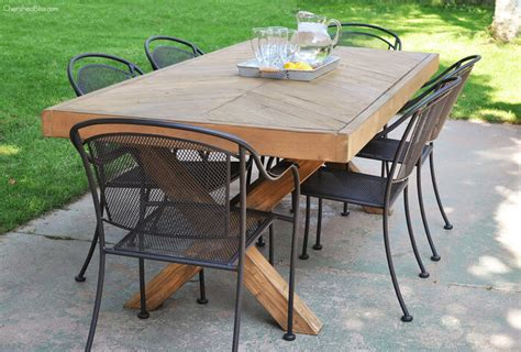 Diy Tables by Outdoor Table With X Leg And Herringbone Top Free Plans