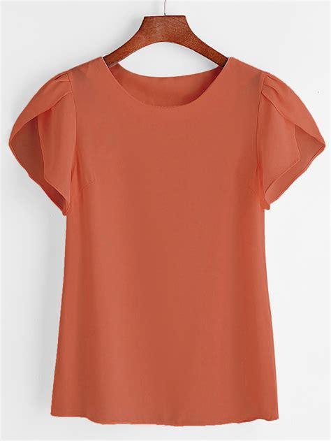 Sleeve Chiffon Blouse petal sleeve chiffon blouse shein sheinside