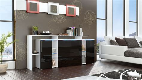 sideboard schwarz matt sideboard cabinet led lissabon v2 white matt high gloss