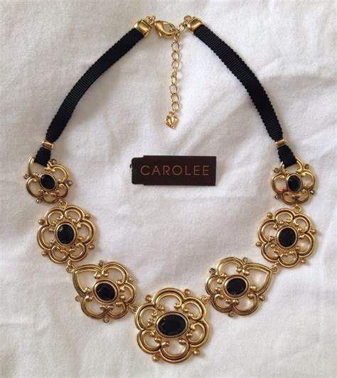 Necklace Ribbon Gold Plated carolee gold plated onyx ribbon necklace 40 retail