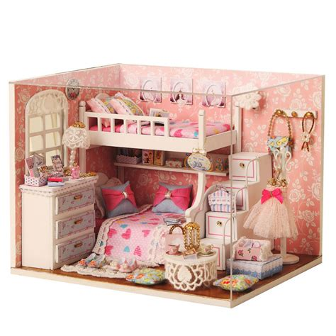 doll house rooms kits diy wood dollhouse miniature with furniture doll house room angel dream ebay
