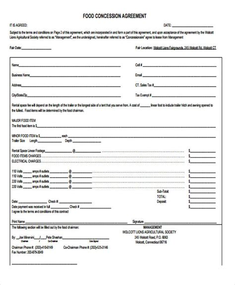 concession agreement template 9 concession agreement templates free sle exle