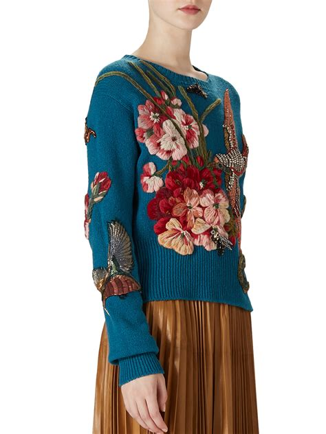 embroider knitting gucci embroidered wool knit top in blue lyst