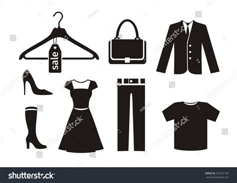 how to set color in clothes clothes icon set black color on stock vector 223532182
