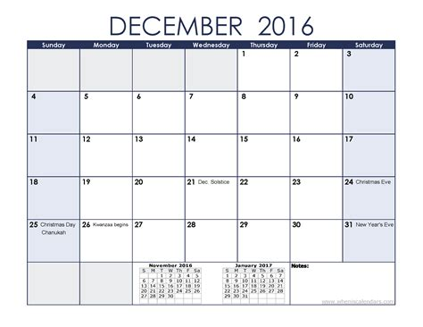 December 2016 Printable Calendar With Holidays