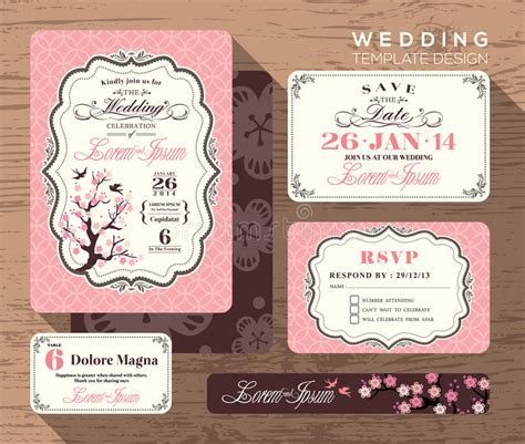 free vintage wedding place card template vintage wedding invitation set design template stock image