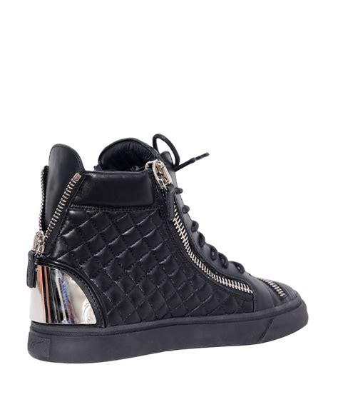 black sneakers lyst giuseppe zanotti high top matelass 233 leather