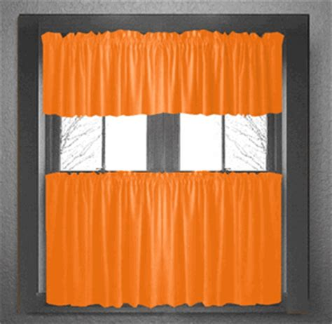 solid orange kitchen tier cafe cotton curtains