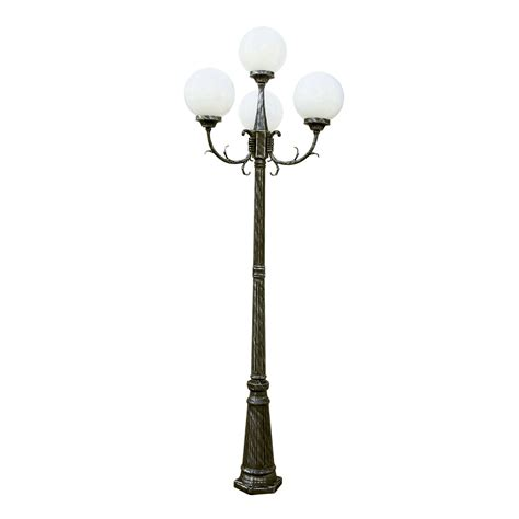 L Post Lighting Fixtures 89 Inch 4 Globe Four Light Outdoor L Post Swedish Iron Trans Globe