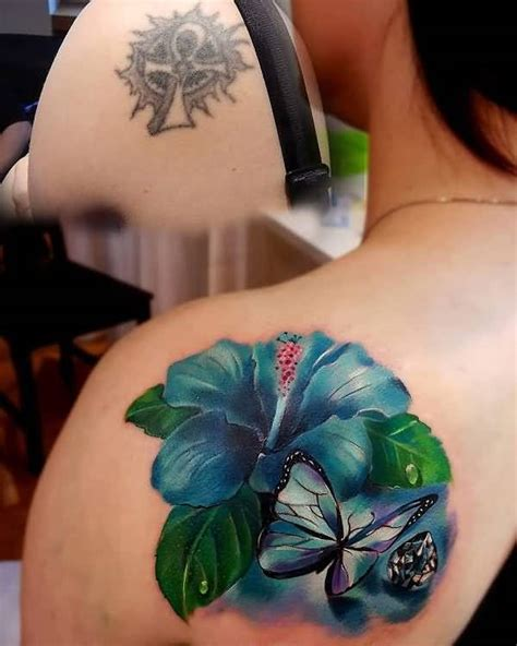 tattoo cover up flowers realistic 3d butterfly tattoo design on collarbone for