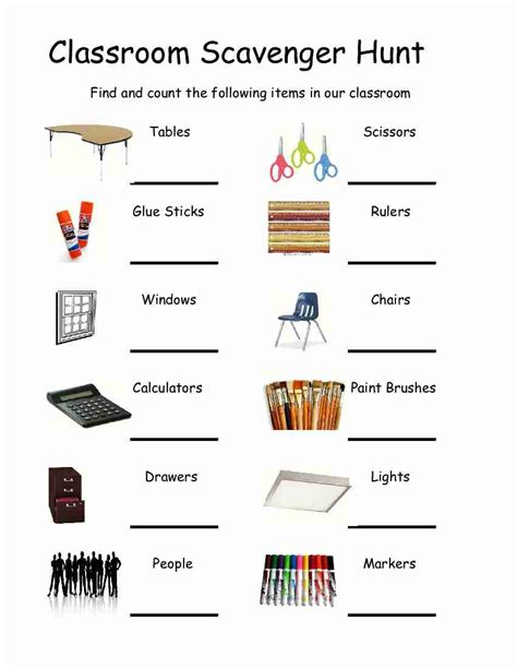 Classroom Worksheets by Empowered By Them Classroom Scavenger Hunt