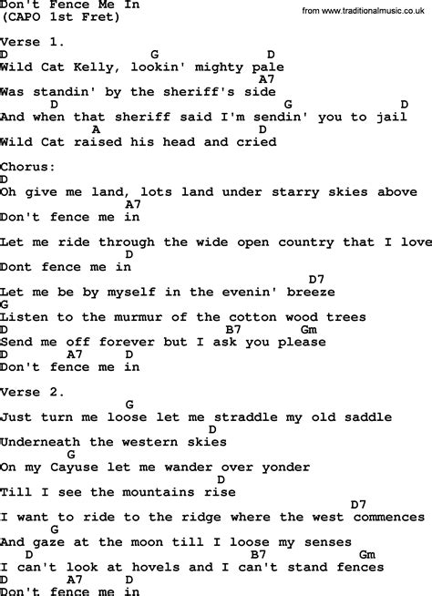 in lyrics don t fence me in bluegrass lyrics with chords