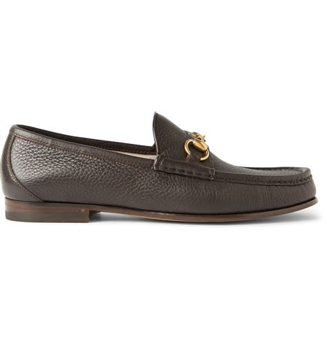 gucci horsebit loafers gucci horsebit grained leather loafers in brown for lyst