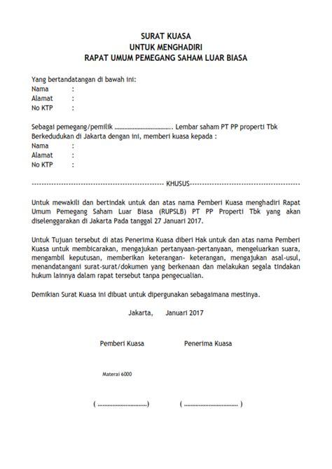 Contoh Surat Kuasa Pengurusan Pajak by Contoh Surat Kuasa Untuk Menghadiri Rapat Umum Pemegang
