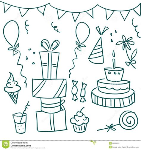 free vector birthday doodle birthday doodles stock vector image of illustration