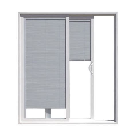 Blinds For Sliding Glass Patio Doors Jeld Wen Builders Series White Vinyl Right Sliding Patio Door W Blinds In Glass At Menards 174