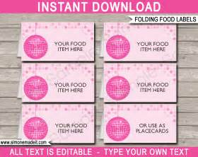 food label templates free disco food labels place cards disco theme