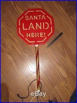 santa land here lighted sign bright tidings santa landing zone yard lights