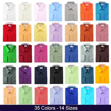 shirt colors berlioni italy convertible cuff solid mens dress
