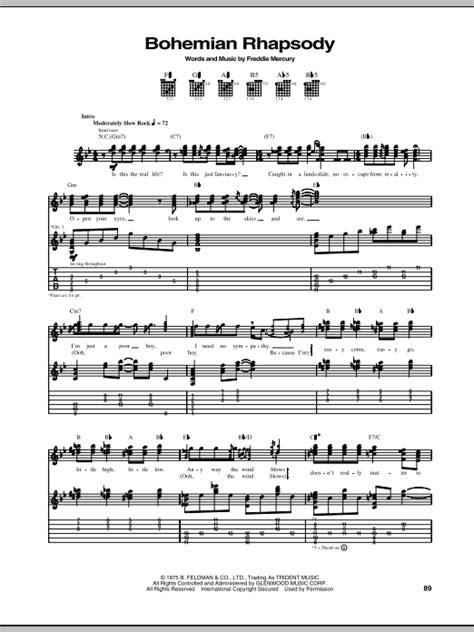 tutorial guitar bohemian rhapsody bohemian rhapsody sheet music direct