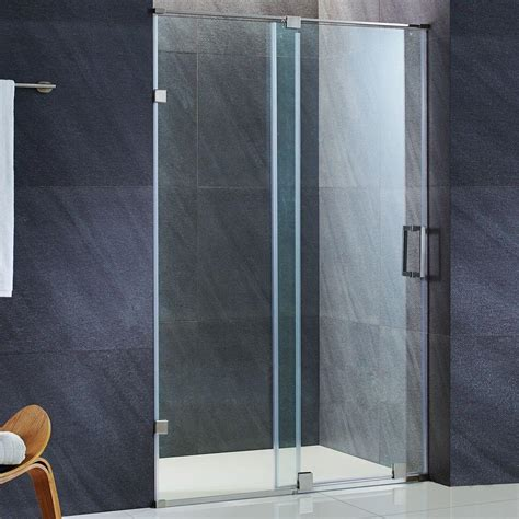 Vigo Glass Shower Door Vigo 60 In X 74 In Frameless Bypass Shower Door In Stainless Steel With Clear Glass